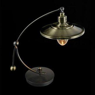 lampa biurkowa w stylu retro ciemny mosiądz