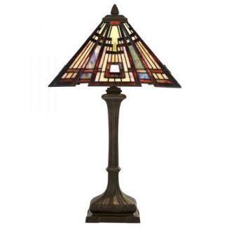 lampa biurkowa z kloszem ze szkła witrażowego