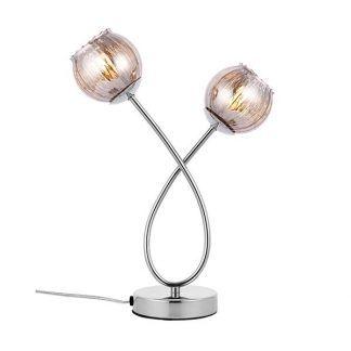 lampa biurkowa z kryształowymi kulkami - srebrna do salonu