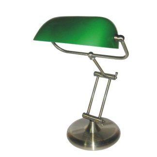 lampa biurkowa z zielonym kloszem biblioteczna