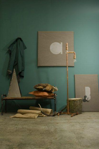 lampa do salonu z miedzianych rur - podłogowa wysoka