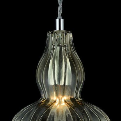 lampa kryształowa wisząca - klosz szklany glamour