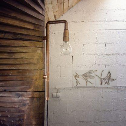 lampa miedziana do wnętrz aloft z rurek i żarówką