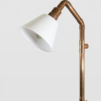 lampa miedziana z kloszem białym - rurki spawane