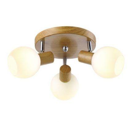 Lampa na drewnianej podstawie ze szklanymi kloszami