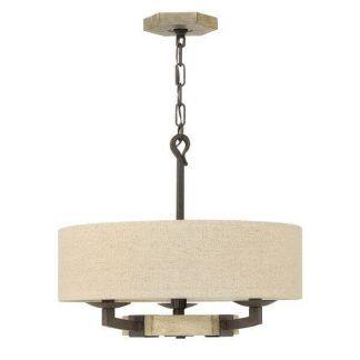 Lampa na łańcuchu z beżowym abażurem do salonu