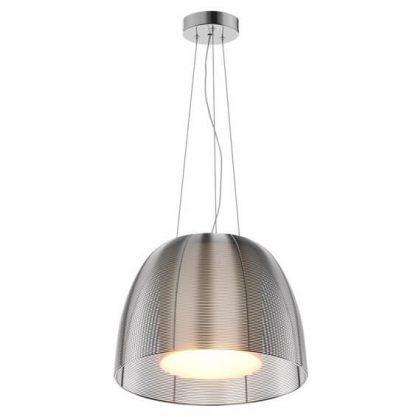 Lampa na srebrnej podstawie z drucianym kloszem
