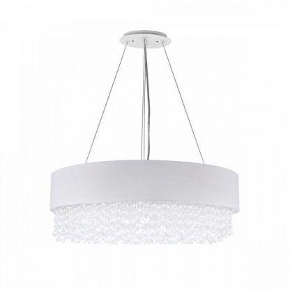 Lampa na srebrnych linkach z abażurem i kryształkami