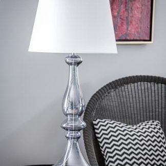 lampa na stolik do salonu - szklana z abażurem