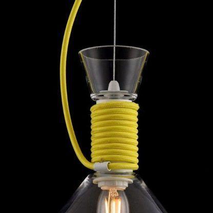 lampa na żółtym sznurku - szklana nowoczesna
