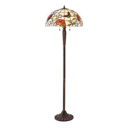 lampa podłogowa z witrażowym kloszem w kwiaty