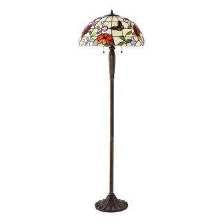 brązowa lampa podłogowa z witrażowym kloszem