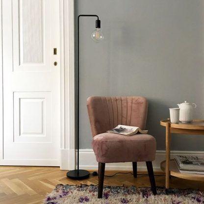 lampa podłogowa czarna szary salon aranżacja