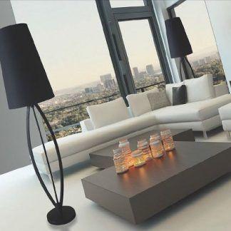 lampa podłogowa do salonu - cała czarna z abażurem
