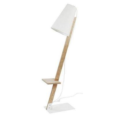 lampa podłogowa drewniana z białym abażurem