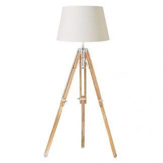 lampa podłogowa drewniany tripod jasny abażur
