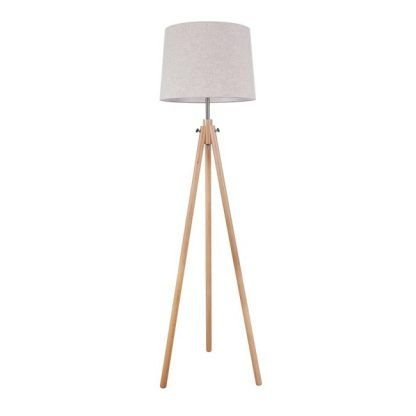 lampa podłogowa na drewnianych nogach