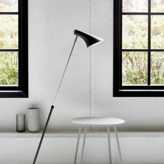 Lampa podłogowa na skośnej stopie - czarna