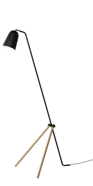 lampa podłogowa stojąca na 3 nóżkach - czarna