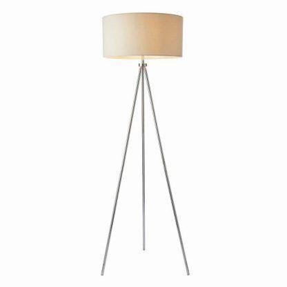 lampa podłogowa trójnóg srebrna z białym kloszem