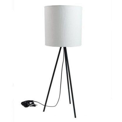 lampa podłogowa trójnóg z białym abażurem