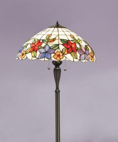 lampa podłogowa w kwiaty fioletowy salon
