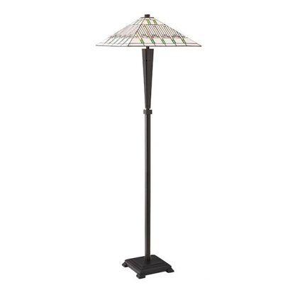 Lampa podłogowa witrażowa ze stożkowym kloszem