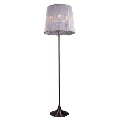 lampa podłogowa z ciemną podstawą i materiałowym abazurem