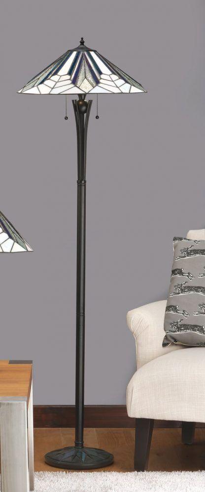 lampa podłogowa z geometryczny witraż do salonu