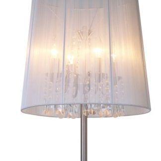 lampa podłogowa z materiałowym abażurem i kryształami