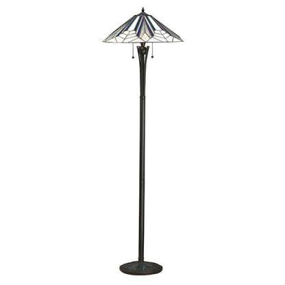 lampa podłogowa z witrażowym kloszem szara