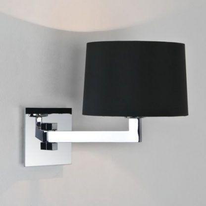 lampa ścienna srebrna z czarnym abażurem - sypialnia i łazienka