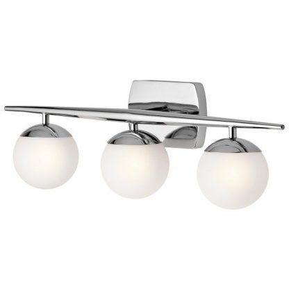 lampa ścienna z 3 kloszami w kształcie kul do łazienki
