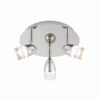 Lampa srebrna na okrągłej podstawie do salonu