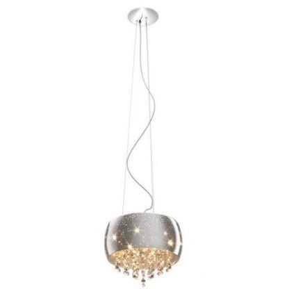 Lampa srebrna w stylu glamour z kryształowymi dekoracjami