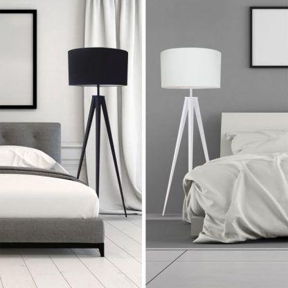lampa stojąca do sypialni - trójnóg biały i czarny