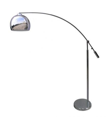 lampa stojąca - łuk ze srebrnym kloszem jak kula