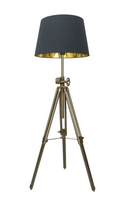 lampa stojąca podłogowa z czarnym abażurem - mosiężna