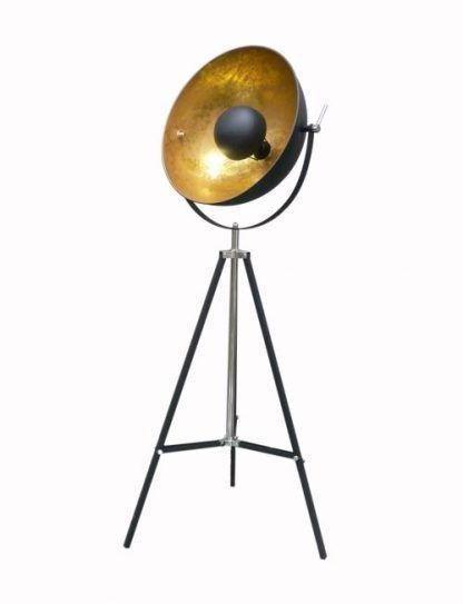 lampa stojąca reflektor czarny z miedzianym wnętrzem