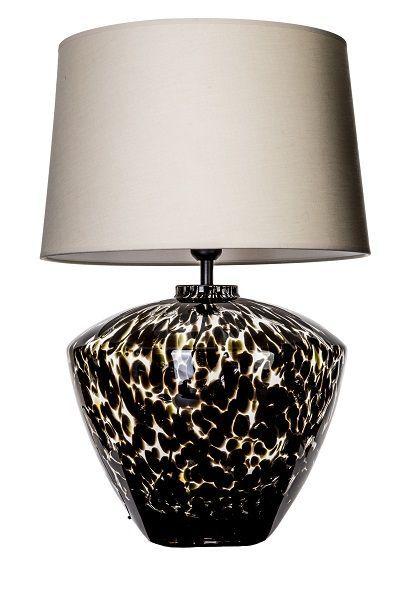 lampa stojąca w cętki - czarno biała z abażurem