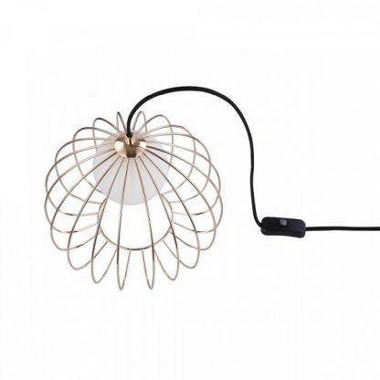 lampa stojąca z drucianym abażurem - okrągła miedziana