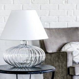 lampa stołowa - bańka ze szkła i biały abażur