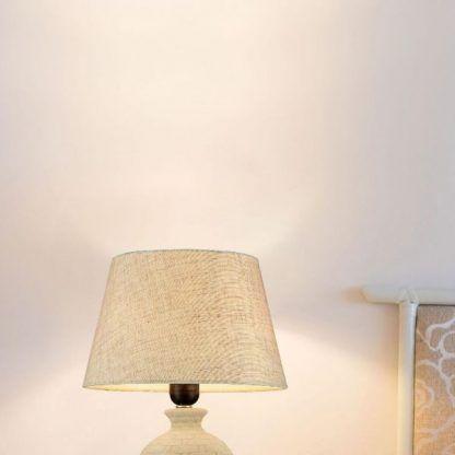 lampa stołowa beżowa do sypialni