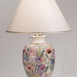 lampa stołowa ceramiczna z różowymi kwiatkami i abazurem