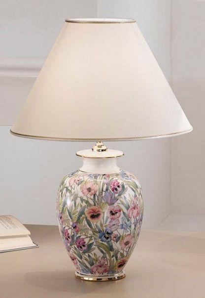 lampa stołowa - ceramika z kwiatkami eleganckim abażurem