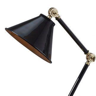 lampa stołowa czarna ze złotymi wstawkami - klosz