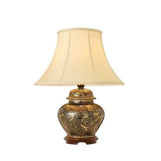 lampa stołowa czarna ze złotymi zdobieniami