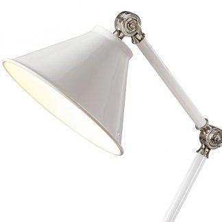 lampa stołowa do biura lub gabinetu - biała elegancka