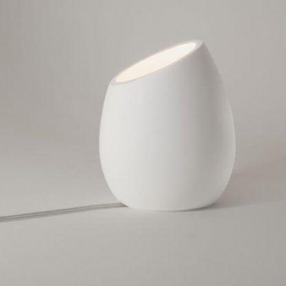 lampa stołowa do salonu do sypialni biała gipsowa