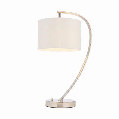 lampa stołowa do salonu srebrna z abażurem